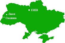 пгт.Сходница на карте Украины.